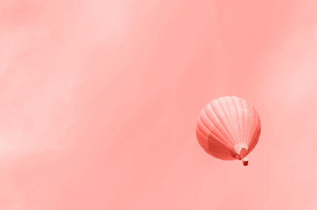 Hot-air balloons flying over sky. copy space