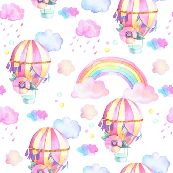 Hot air balloons pattern with rainbow and clouds