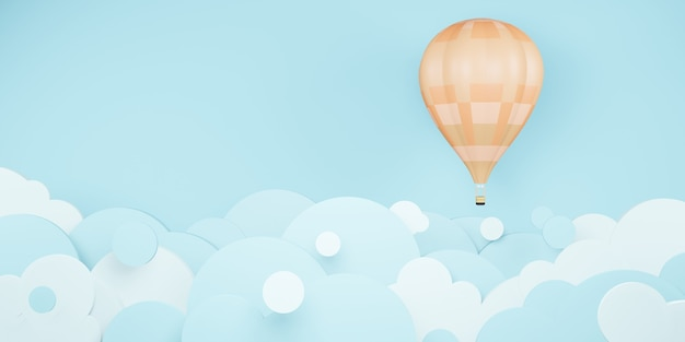 Hot air balloons in the sky 3d illustration