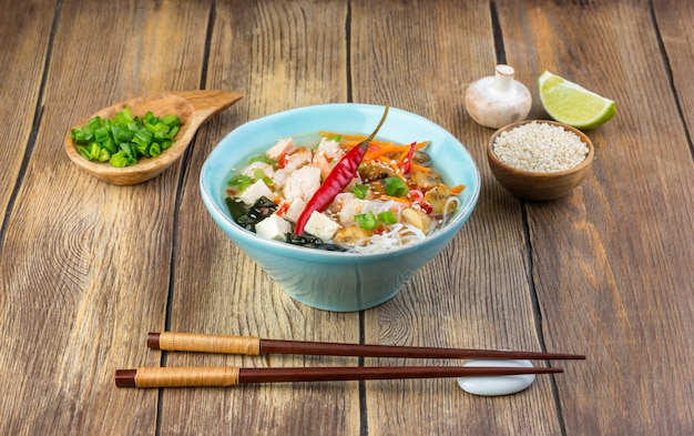 Hot asian soup with tofu