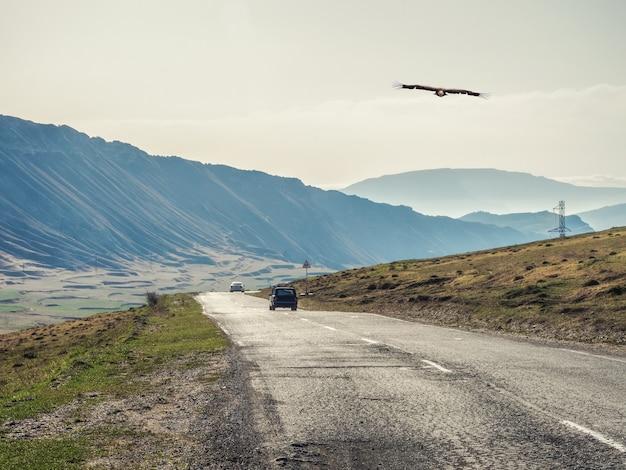 丘や山々を通る熱いアスファルト道路。