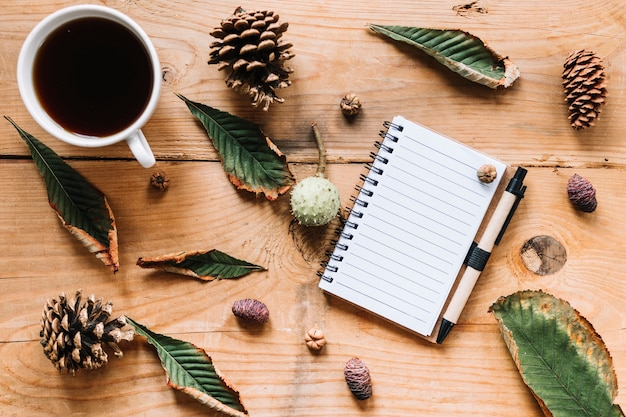 Hot beverage and notebook among green leaves