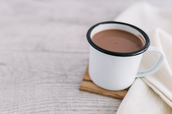 Hot cacao in cup
