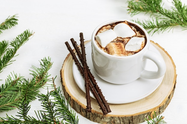 Hot cacao with marshmallows decorated pine branches on white wood