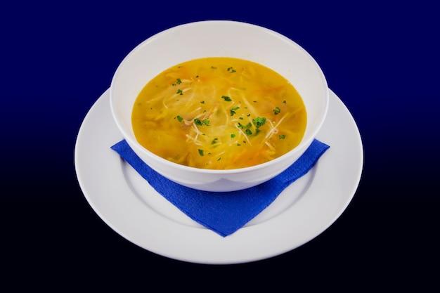 당근과 허브를 곁들인 핫 치킨 누들 스프. 파란색 배경에 흰색 접시에 근접 촬영.