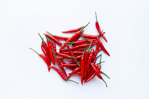 Hot chili pepper on white background.