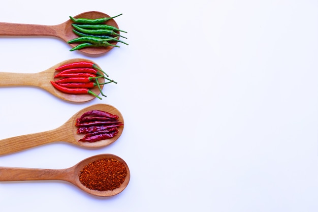 Hot chili pepper on wooden spoon, white background. copy space