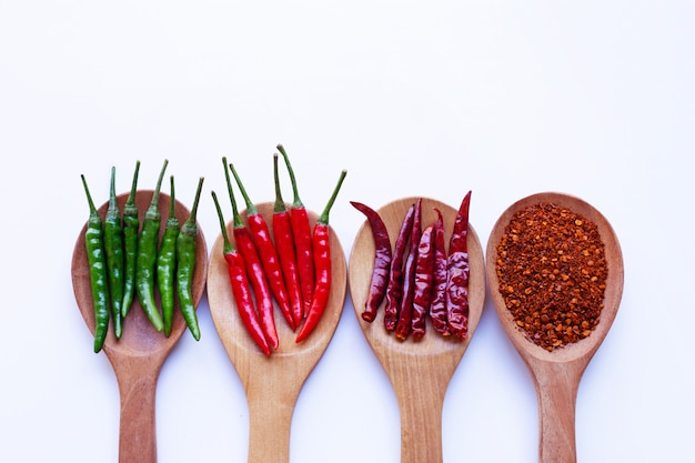 Hot chili pepper on wooden spoon on white background.