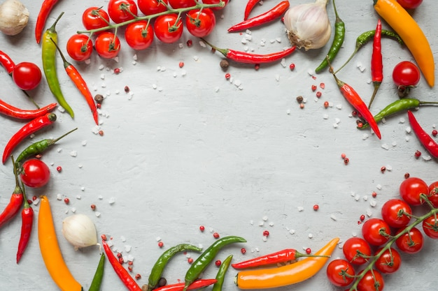 Hot chili peppers multi-colored, tomato cherry on branch, garlic and other spices on grey