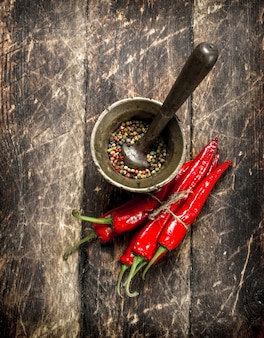 Hot chili peppers with a mortar. on a wooden background.