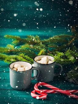 Hot chocolate on dark green. christmas drink
