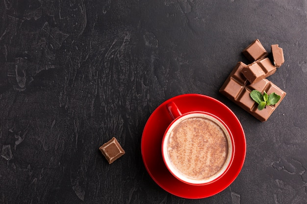 Hot chocolate drink flat lay