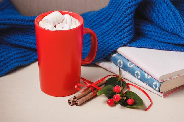 Hot chocolate drink with marshmallow, beze, cinamon