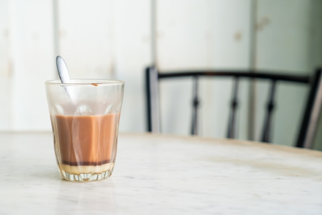 Hot chocolate glass on table