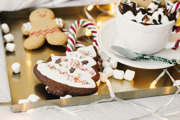 Hot chocolate, marshmallow, cookies and sweets