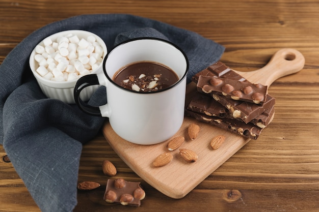 Hot chocolate wit nuts and marshmallow