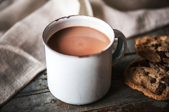 Hot chocolate with chocolate chip cookies