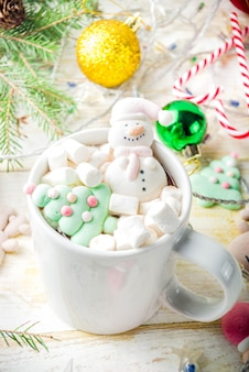 Hot chocolate with funny marshmallow