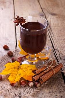 Hot chocolate with hazelnuts