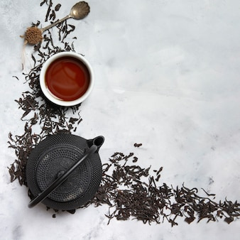 Hot chocolate with herbal leaves