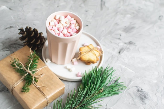 Hot chocolate with marshmallow christmas gift box decoration natural decor new year party  vintage pine cone fur tree brunch