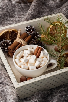 Hot chocolate with marshmallow cinnamon sticks, anise, nuts on wooden tray