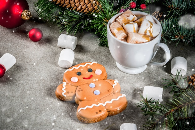 Hot chocolate with marshmallow, gingerbread man cookie, fir tree branches and xmas decor