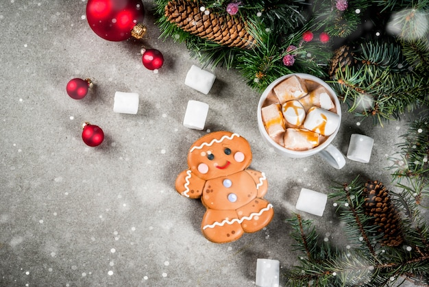 Hot chocolate with marshmallow, gingerbread man cookie, fir tree branches and xmas holiday decorations