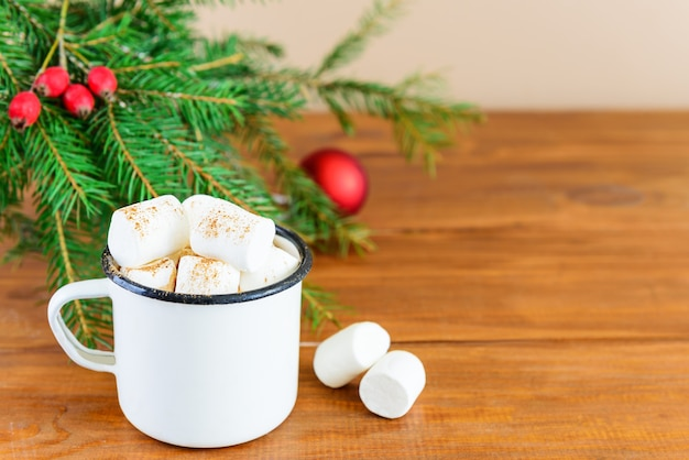 Hot chocolate with marshmallows and coconut milk