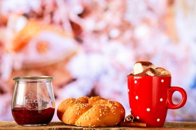 クリスマス用マシュマロ入りホットチョコレートマシュマロ入りココアクリスマスドリンク付き