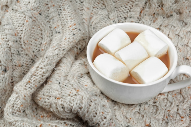 Hot chocolate with marshmallows on the table