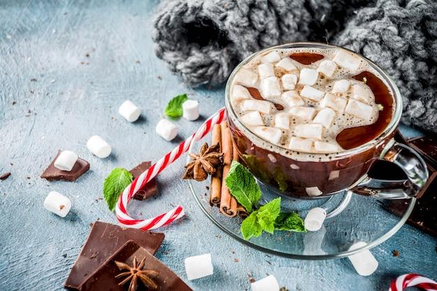 민트와 마쉬 멜 로우 핫 초콜릿