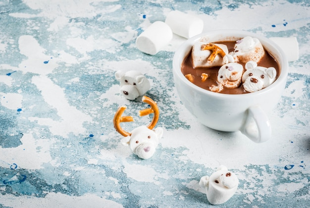 Hot chocolate with teddy bears and deer marshmallow