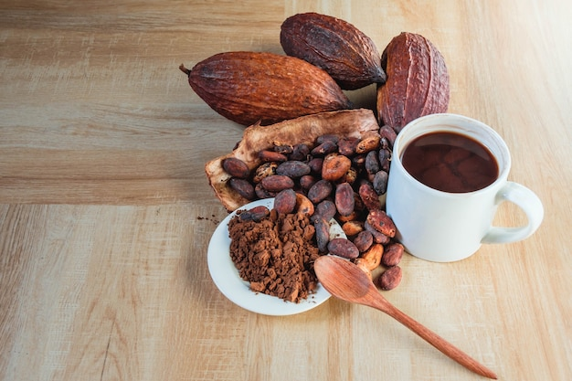 Hot cocoa cup with cocoa powder and cocoa beans on wooden table