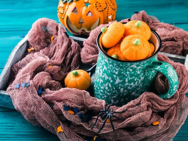 Hot cocoa with pumpkin marshmallows