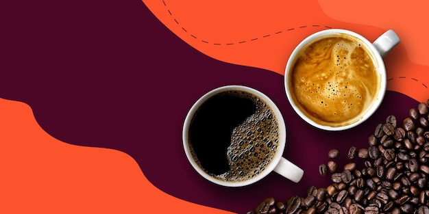 Горячий кофе и бобы на фиолетовом и оранжевом фоне