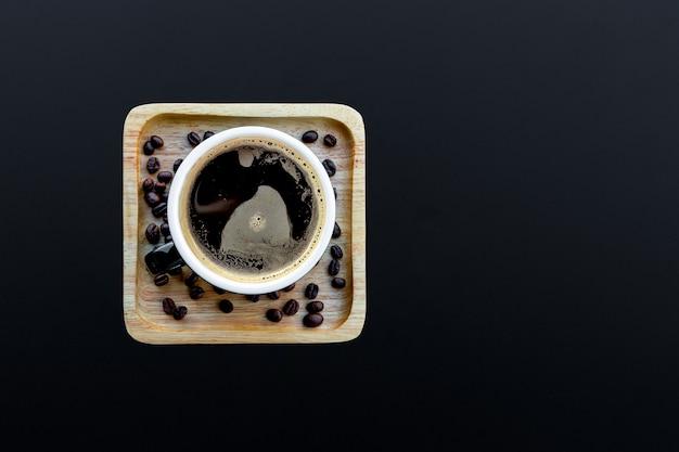Hot coffee on black
