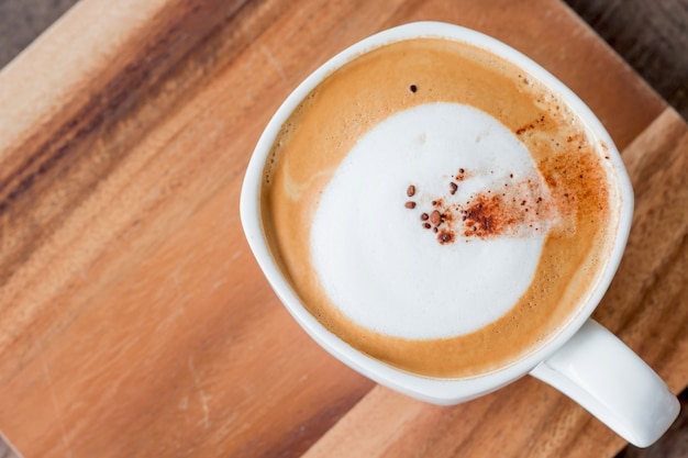 Hot coffee cappuccino with morning fresh