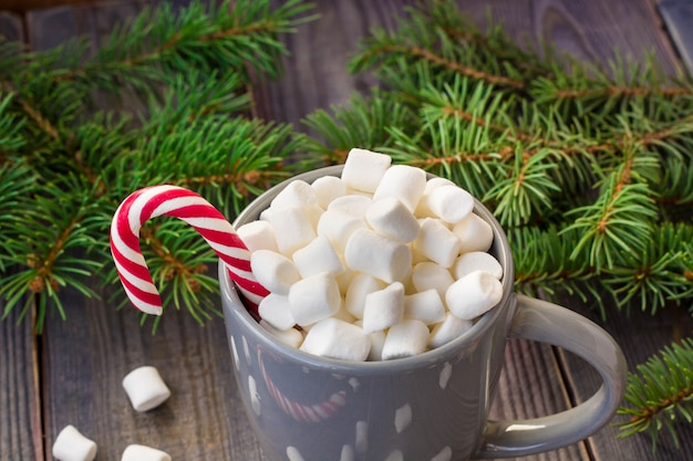 Hot coffee chocolate with marshmallow, candy canes gift boxes fir tree