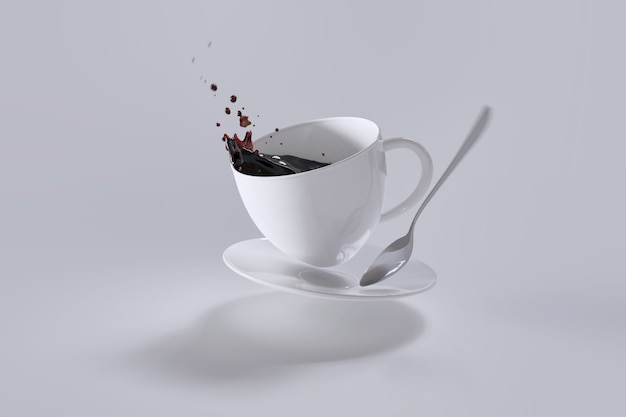 ホットコーヒーがカップからこぼれました。