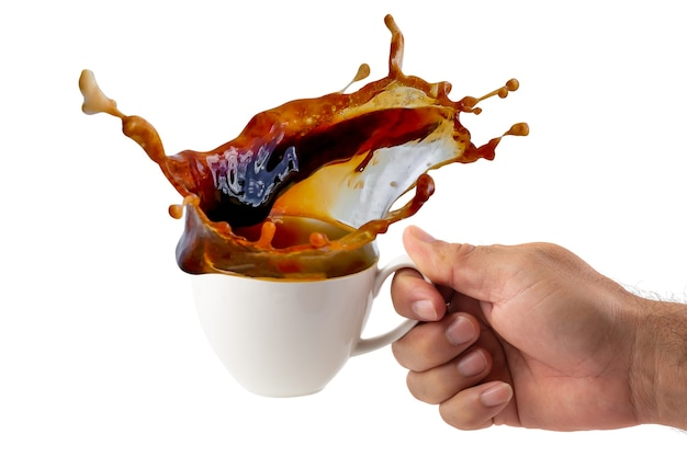 Hot coffee splashing isolated on a white background
