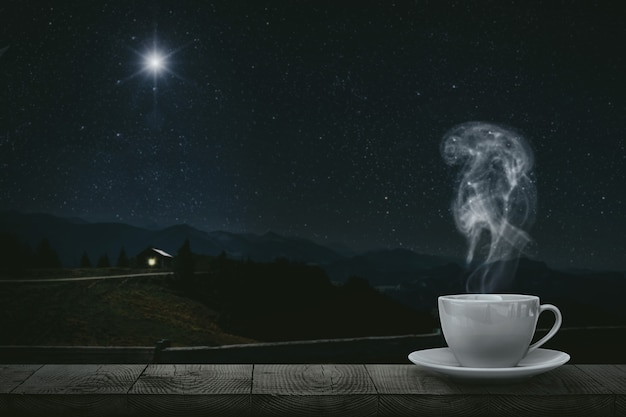 Hot coffee on the table