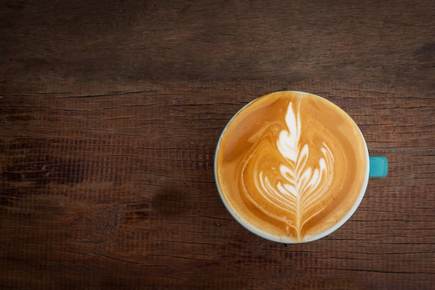 Hot coffee with latte art. favorite caffeine beverage. refreshment drink in morning.
