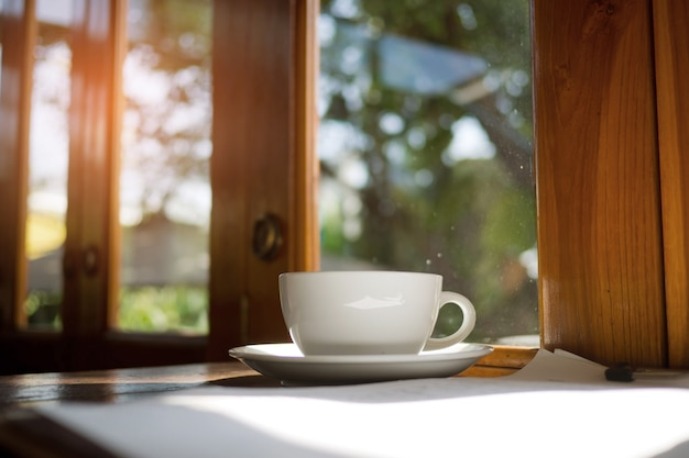 Hot coffee on wood table, relax time