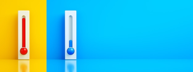 Hot and cold thermometers, 3d rendering, control air conditioner concept, panoramic layout