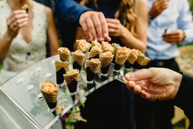 Hot and cold wedding snacks for the guests at the reception