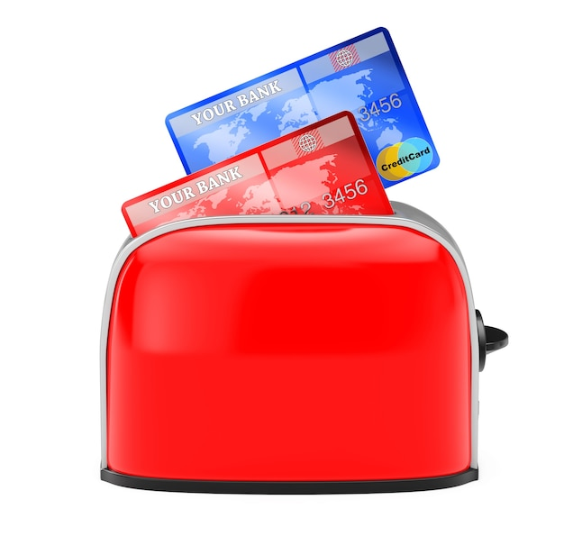뜨거운 크레딧 개념입니다. 흰색 바탕에 빈티지 레드 토스터에서 터지는 신용 카드. 3d 렌더링