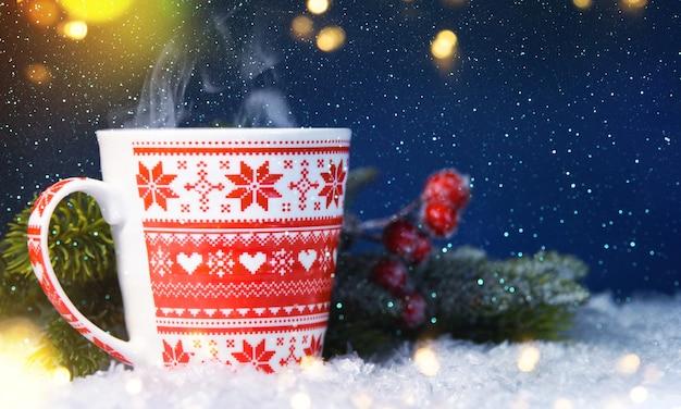 ホットカップ、クリスマス休暇の背景