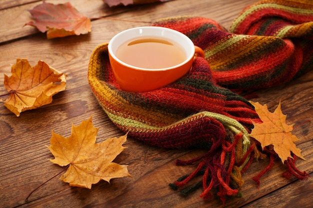 Hot cup of tea with autumn leaves