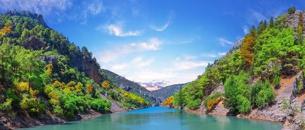 Жаркий день в зеленом каньоне с бирюзовой водой. манавгат, анталия, турция
